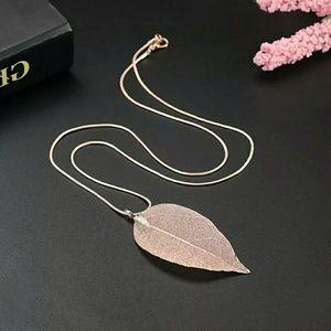 Rose Gold Tone Chain Real Leaf Charm Design